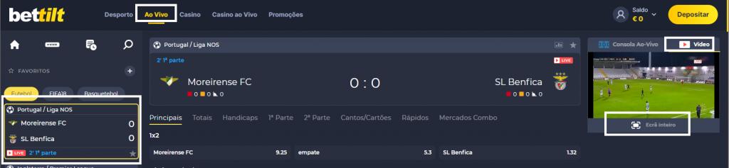 Assistir Moreirense Benfica online grátis e com excelente qualidade