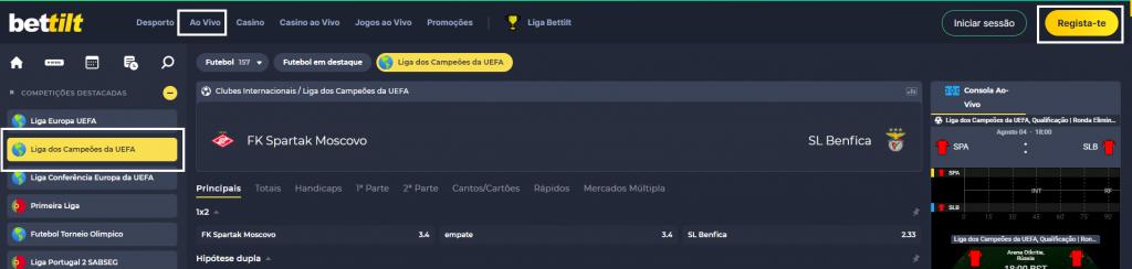 Spartak Moscovo Benfica online e com excelente qualidade em HD
